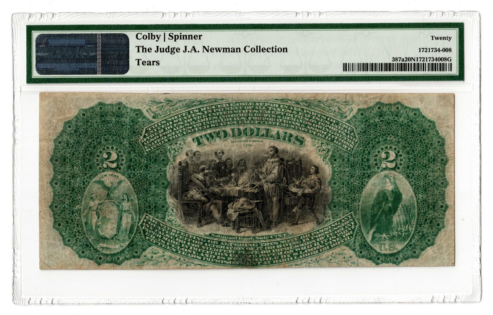 Lot 99: 1865 $2 National Fulton County Bank, Gloversville