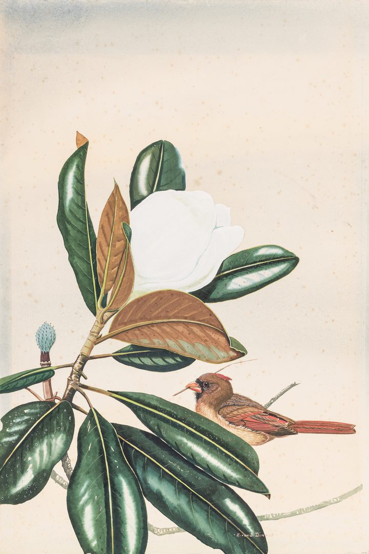 Lot 102: E. Von S. Dingle Watercolor, Cardinal & Magnolia