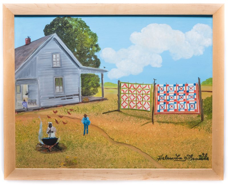 "Lot 107: Helen LaFrance, O/C, ""Laundry Day,"" exhibited"