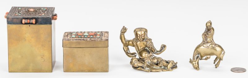 Lot 10: 4 Asian Gilt Bronze Items: Boxes and Figures