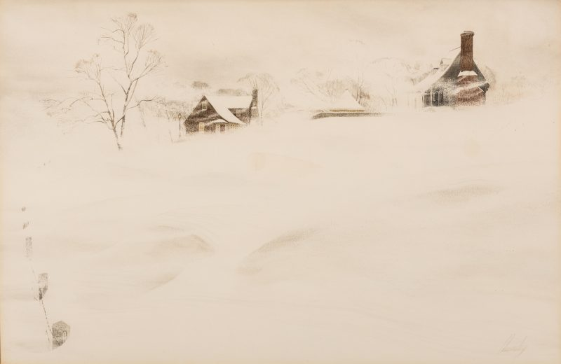 "Lot 115: John Chumley Watercolor ""Blizzard"""
