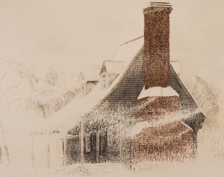 "Lot 115: John Chumley Watercolor ""Blizzard"""