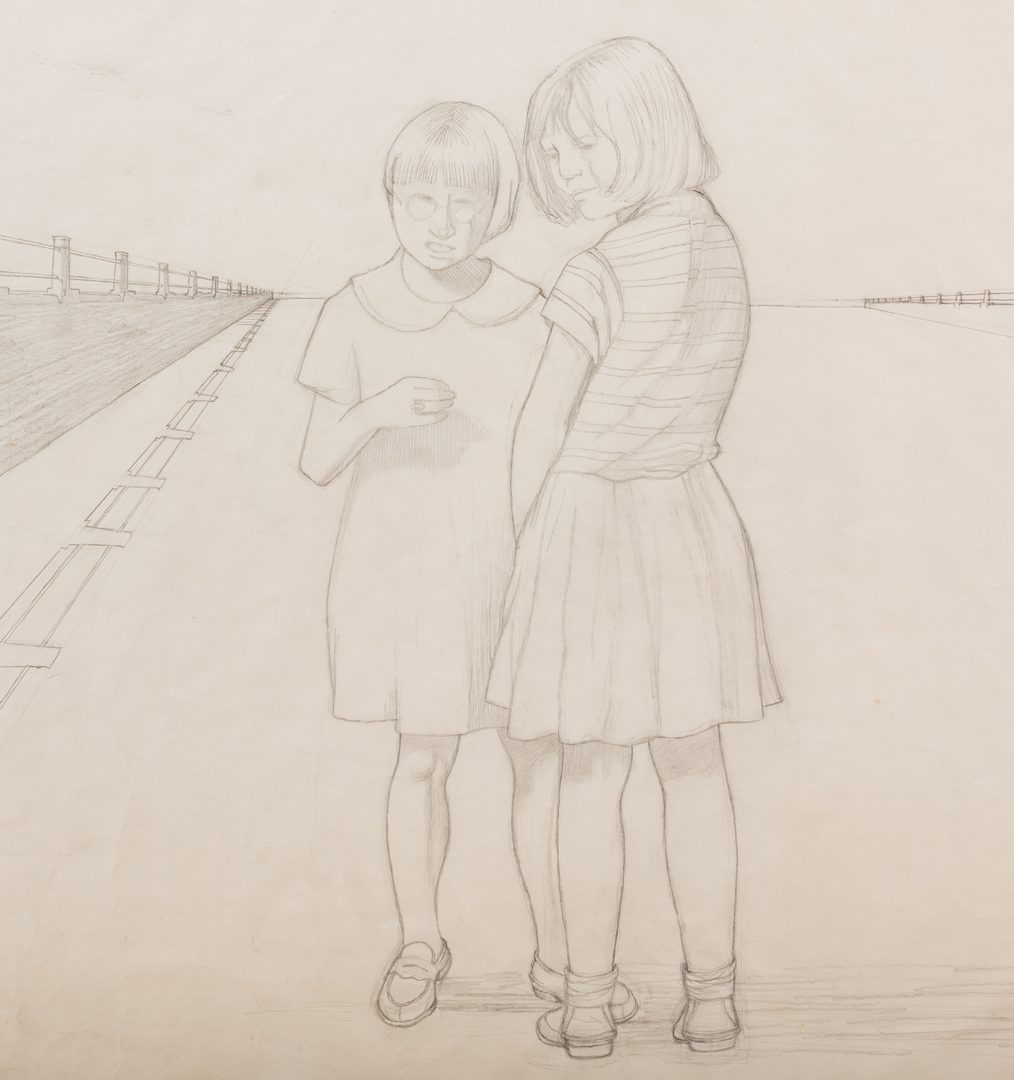 "Lot 118: Carroll Cloar Drawing, ""Plotters"""