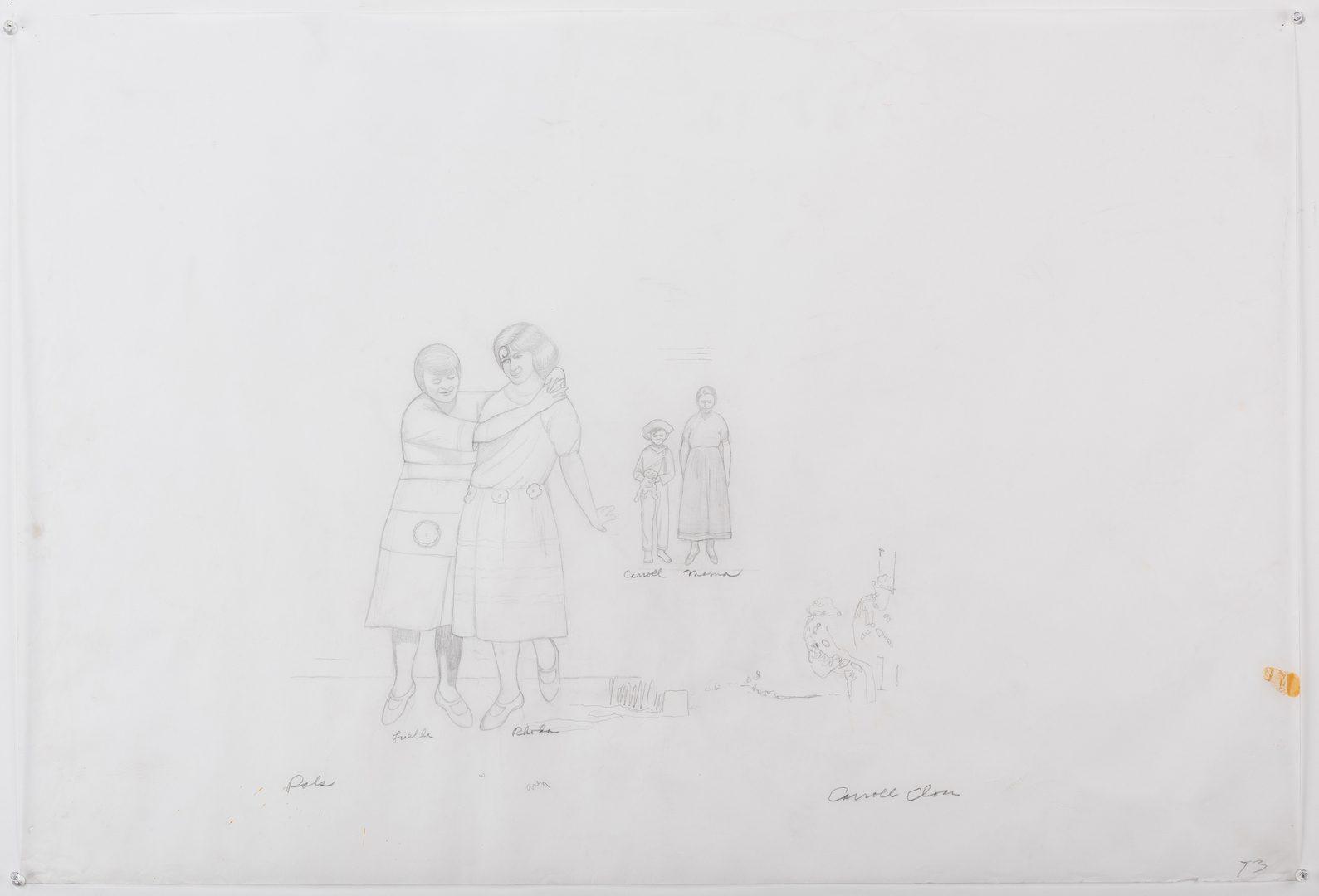 """Lot 119: Caroll Cloar Drawing, """"Pals"""""""