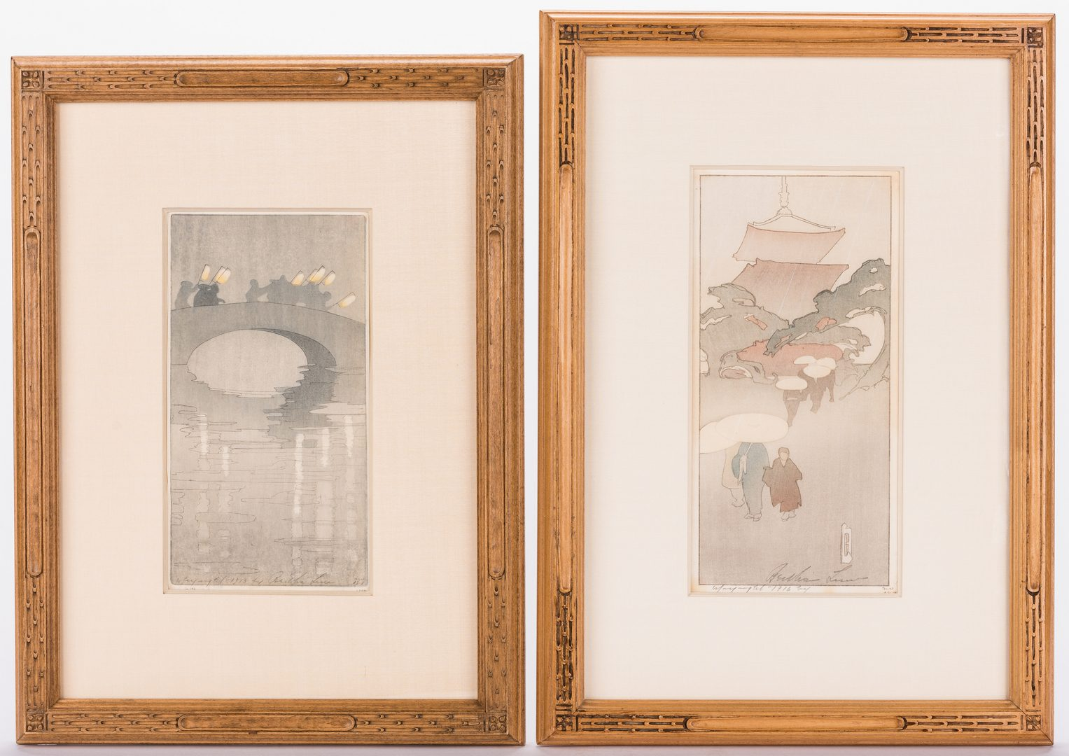 Lot 123: 2 Bertha Lum Japanese Style Woodblock Prints