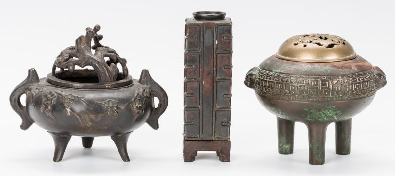 Lot 12: 3 Chinese Bronze Items: 2 Censers and 1 Vase