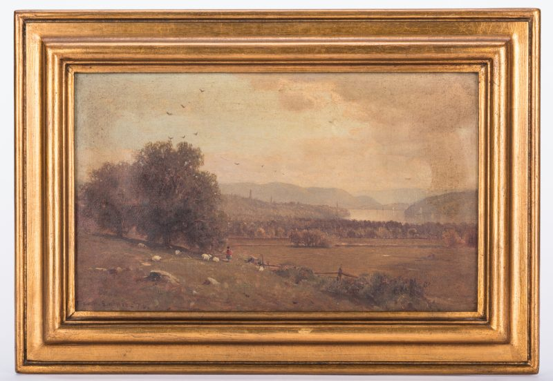 Lot 130: George H. Smillie, O/C, Hudson River Style Landscape