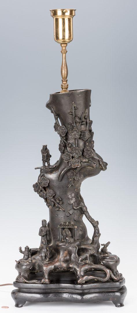 Lot 13: Asian Bronze Tree of Life Figural Lamp