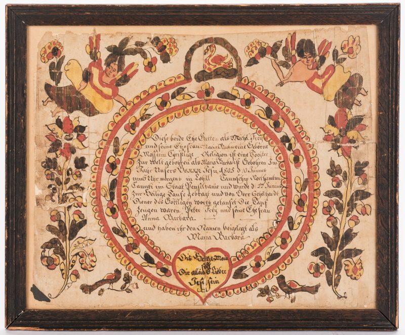 Lot 146: Blousy Angel Artist Fraktur Baptismal Certificate