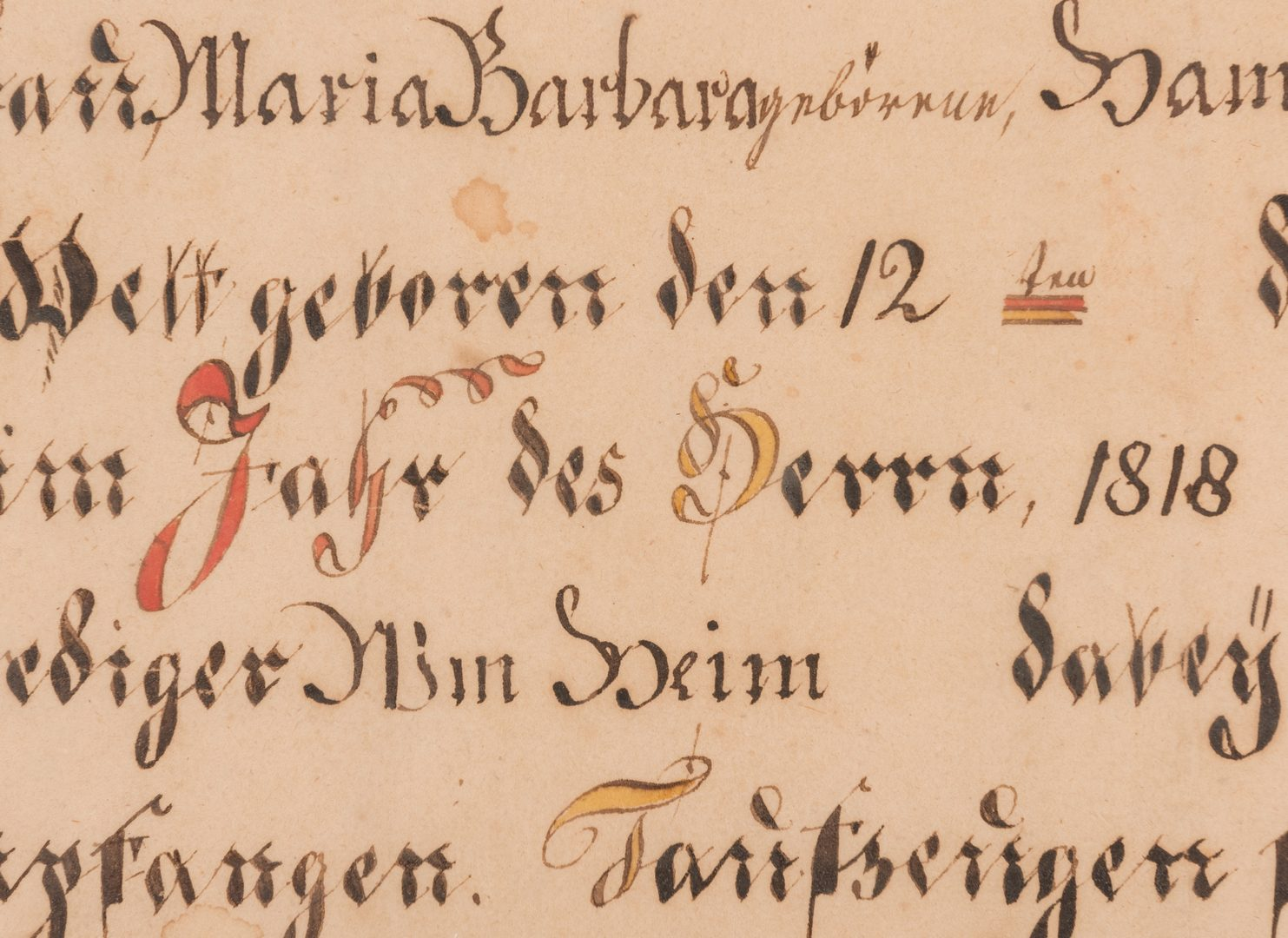 Lot 147: 1818 PA School Fraktur with Eagle