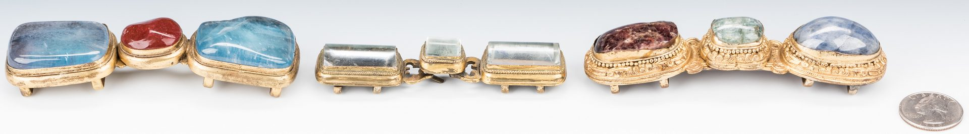 Lot 14: 3 Chinese Crystal, Stone & Bronze Belt Buckles