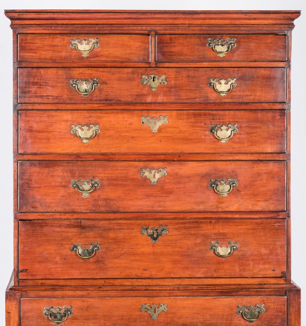 Lot 156: American Queen Anne Cherry Highboy, 18th c.
