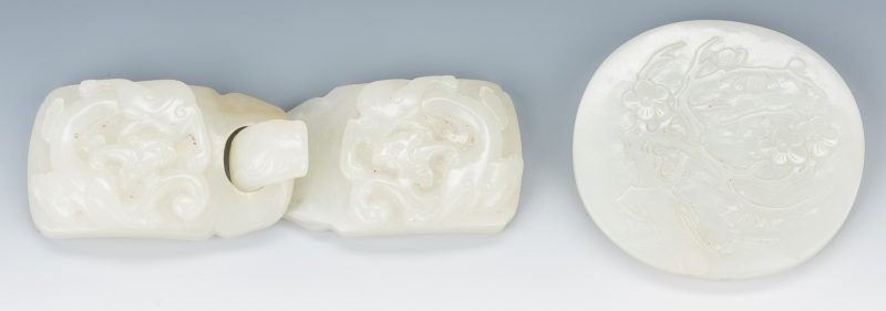 Lot 15: 2 Chinese Celadon Jade Belt Buckles