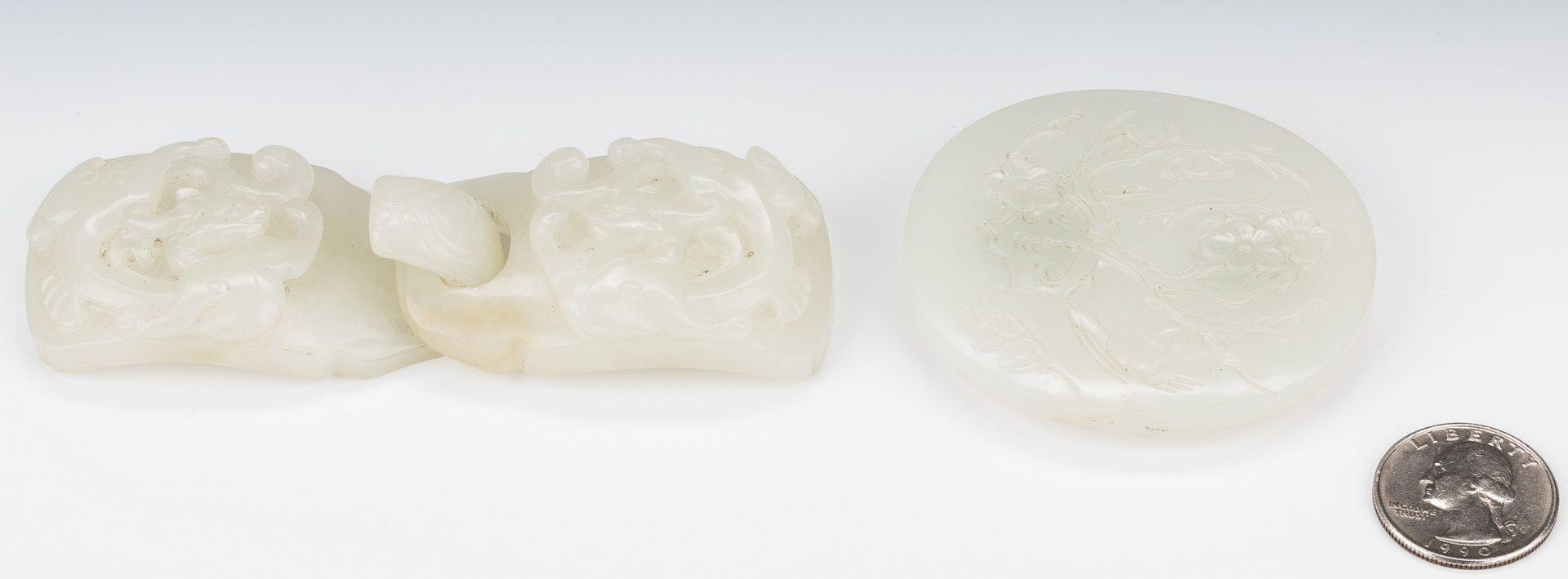 Lot 15: 2 Chinese Celadon Jade Belt Buckles