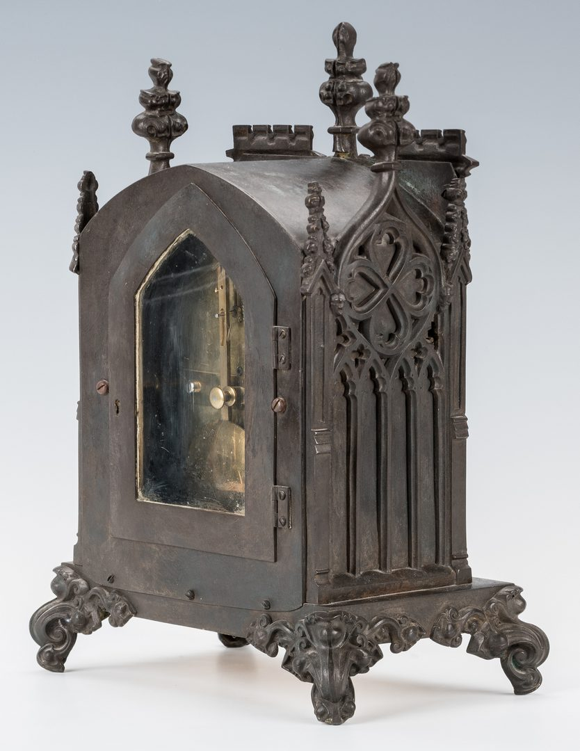 Lot 160: English Bronze Architectural Gothic Mantel Clock