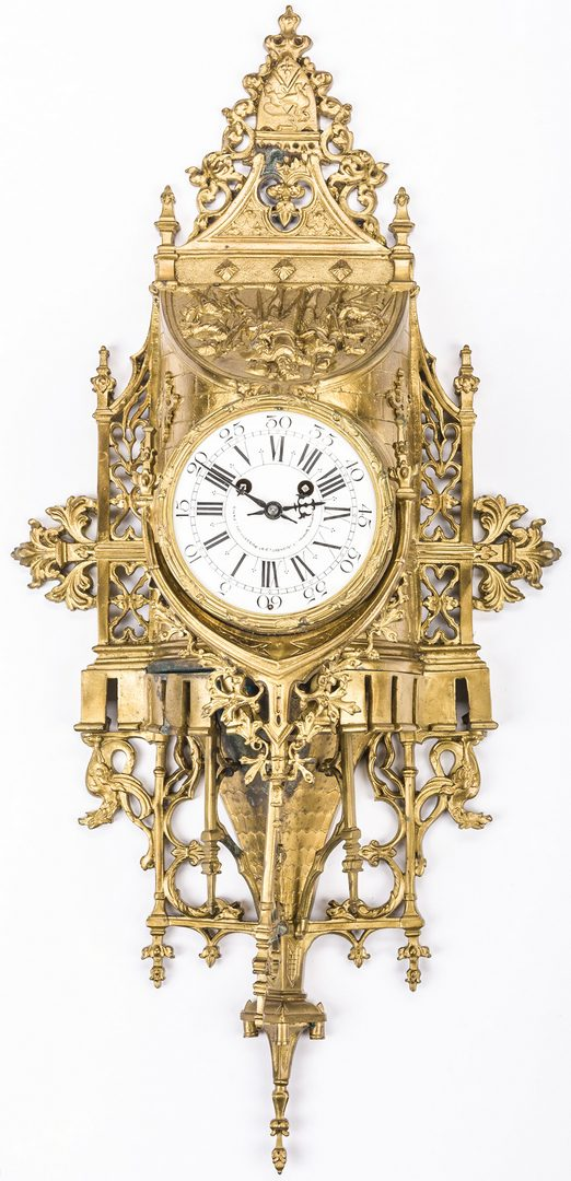 Lot 161: French Gothic Revival Gilded Clock