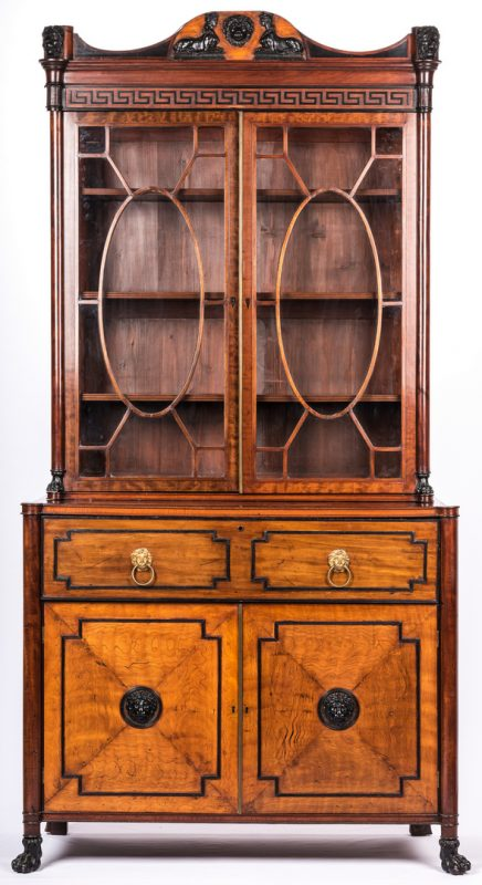 Lot 164: English Regency Secretary Cabinet w/ Ebonized Trim