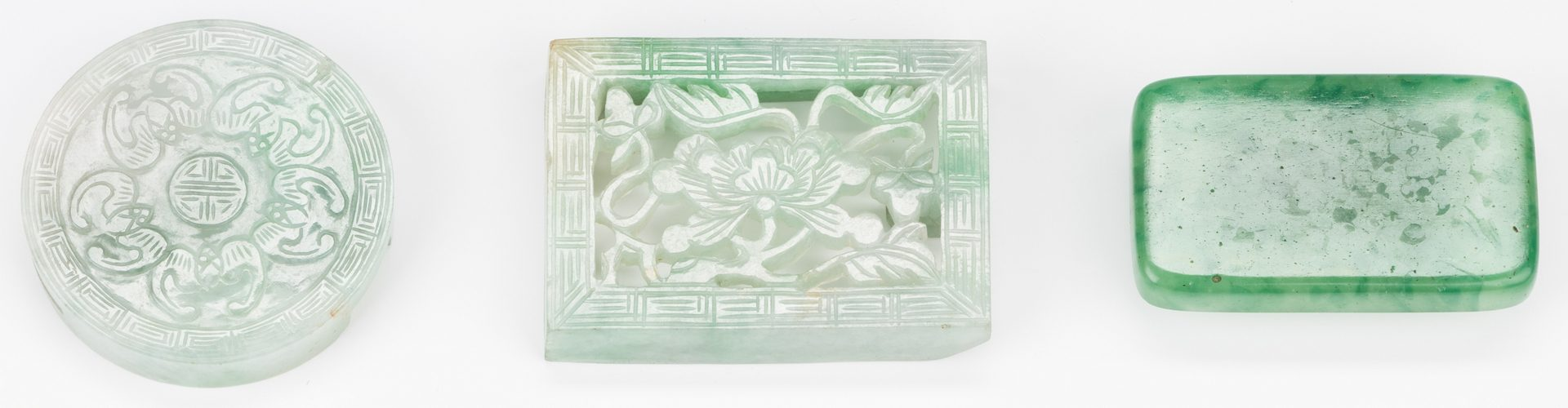 Lot 16: 3 Chinese Green Jade Belt Buckles