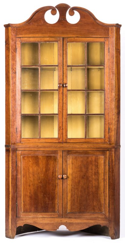 Lot 180: Greene Co. TN Cherry Corner Cupboard