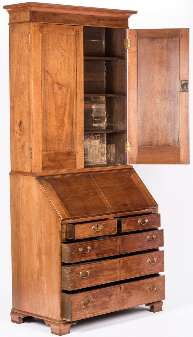 Lot 182: Middle TN Inlaid Desk and Bookcase, attrib. Quarles