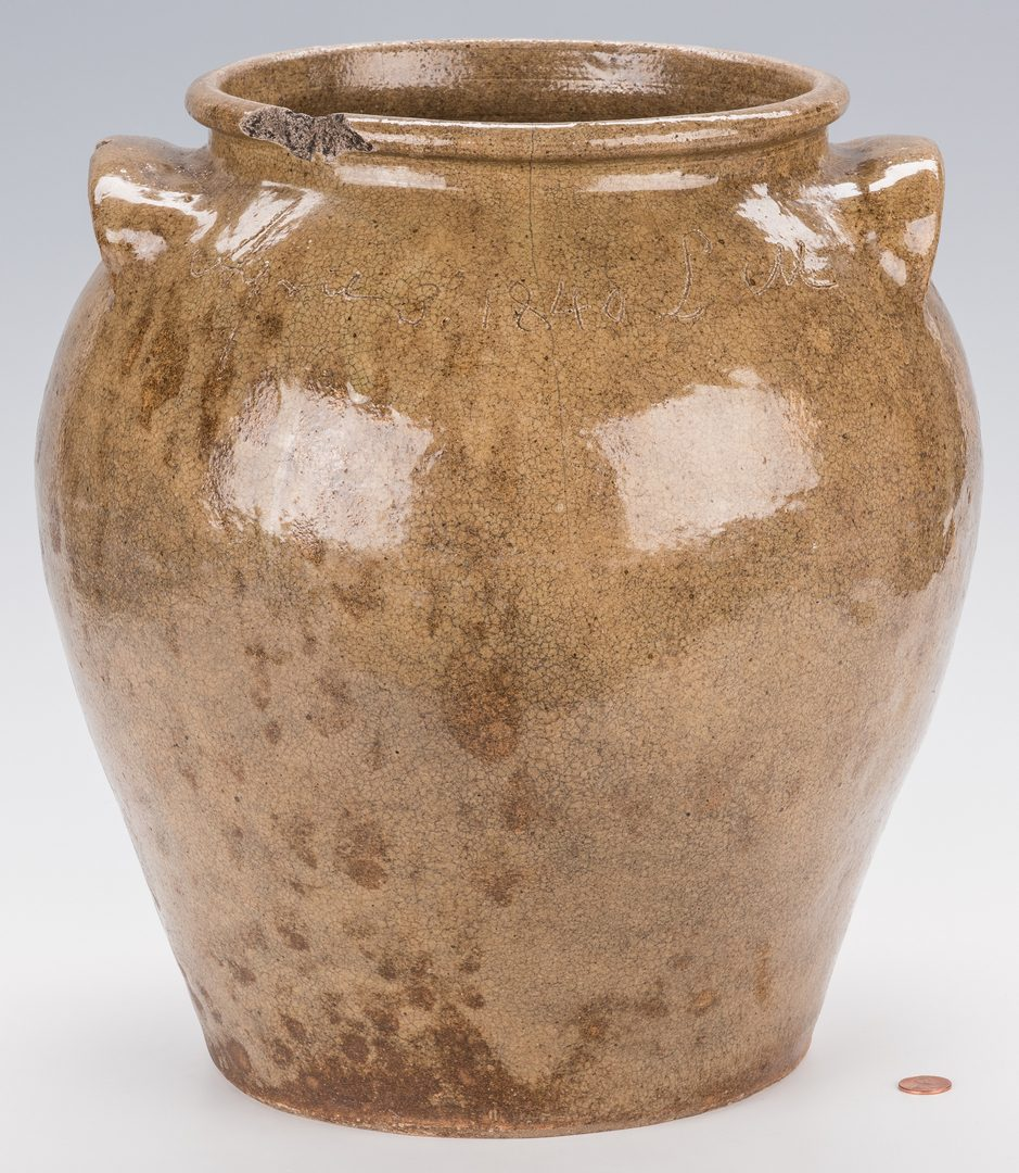 Lot 188: Early Dave Pottery Jar, signed 1840