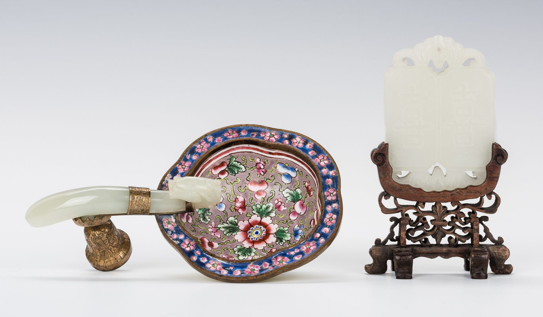 Lot 18: White Jade Plaque and Enamel Dish w/ Jade Handle
