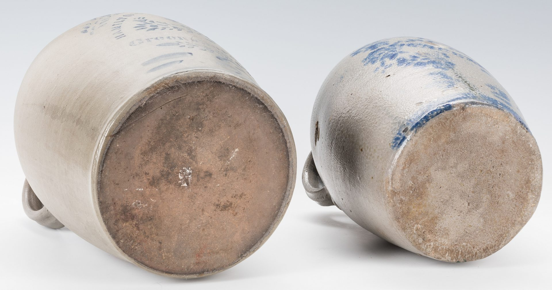 Lot 192: 2 Pennsylvania Cobalt Stenciled Stoneware Jugs, Hamilton