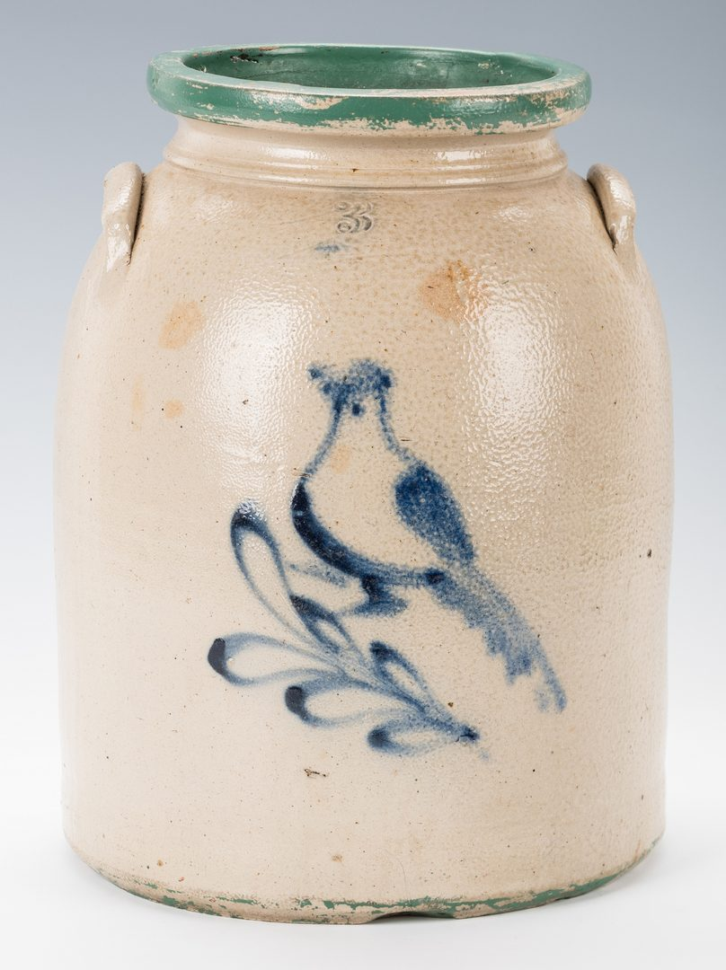 Lot 193: 2 Stoneware Pottery Jars w/ Cobalt Decoration