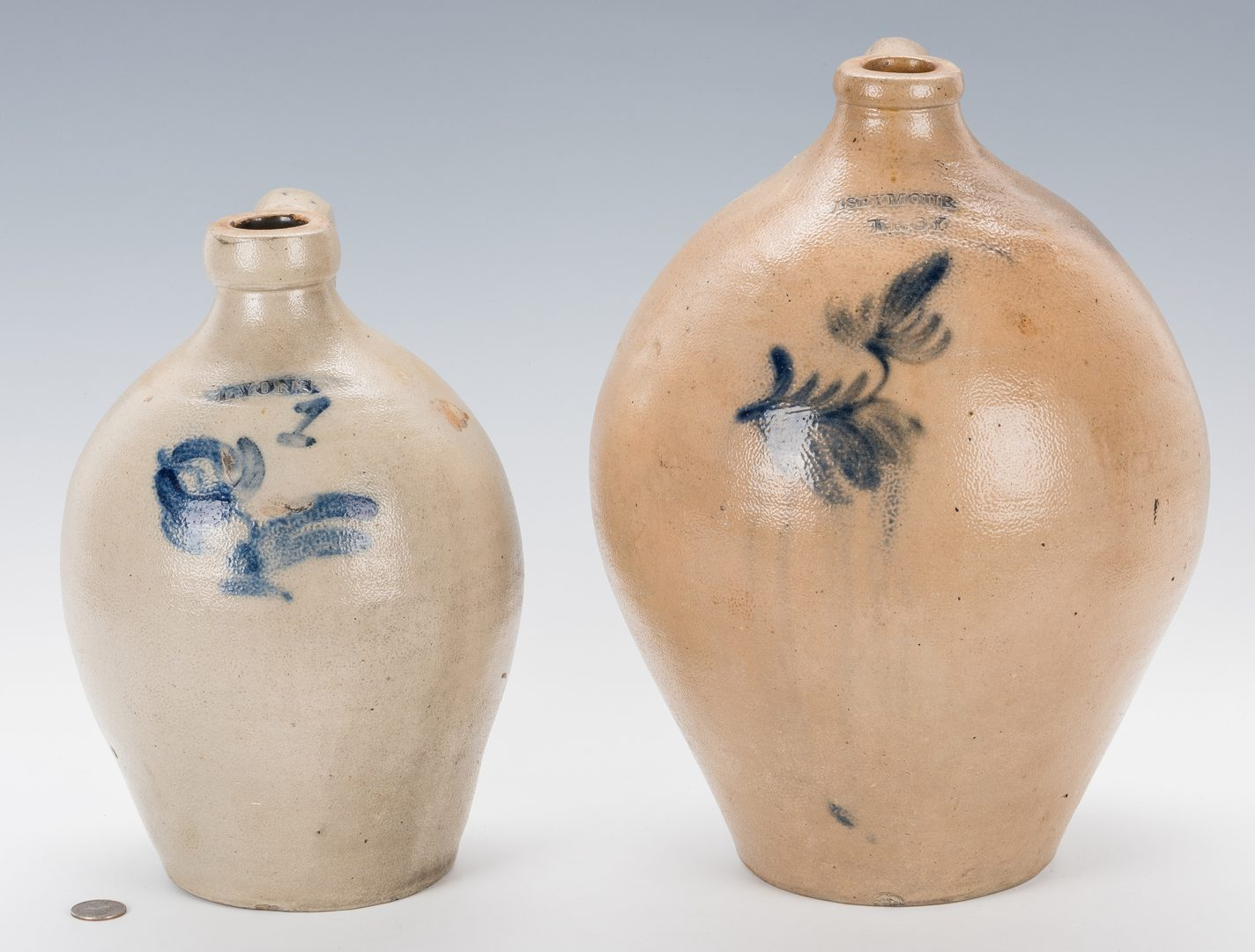 Lot 194: 2 New York Stoneware Ovoid Jugs w/ Cobalt Decoration