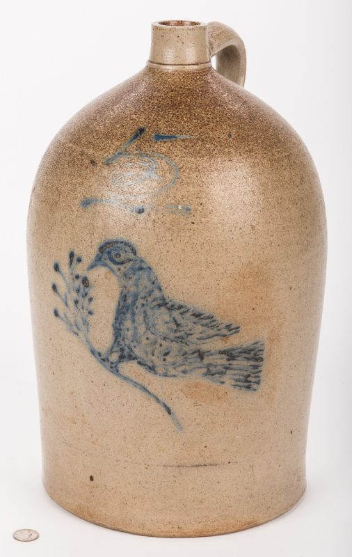 Lot 195: Mid-Atlantic Stoneware Jug, 5 gallon with bird