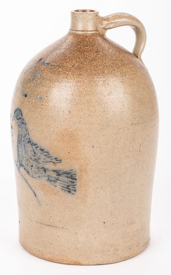 Lot 195: Mid-Atlantic Stoneware Jug, 5 gallon with bird