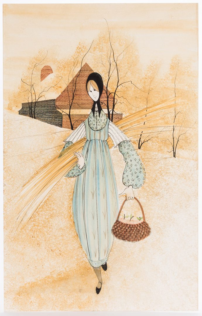Lot 197: Watercolor of Young Amish Woman attr. P. Buckley Moss