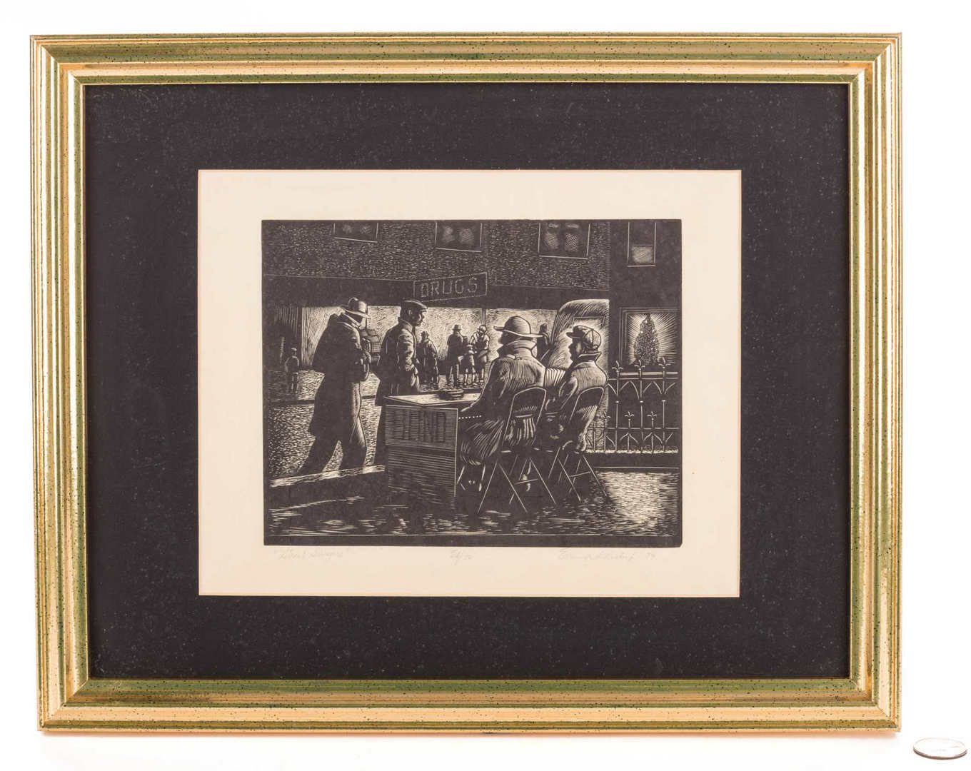 Lot 198: Ernest Pickup Woodcut, Street Singers