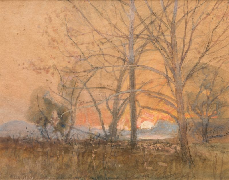 Lot 201: Otto Stark Watercolor/Gouache Landscape