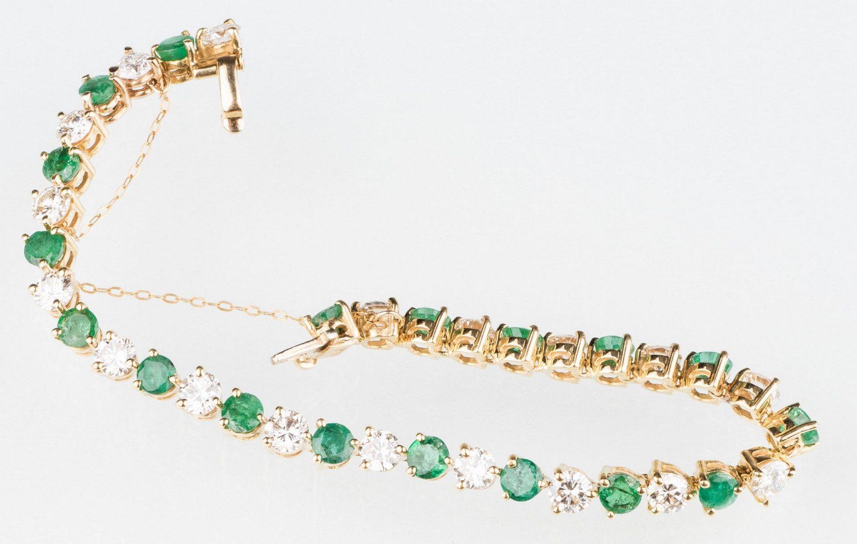 Lot 206: 18K Emerald & Diamond Line Bracelet