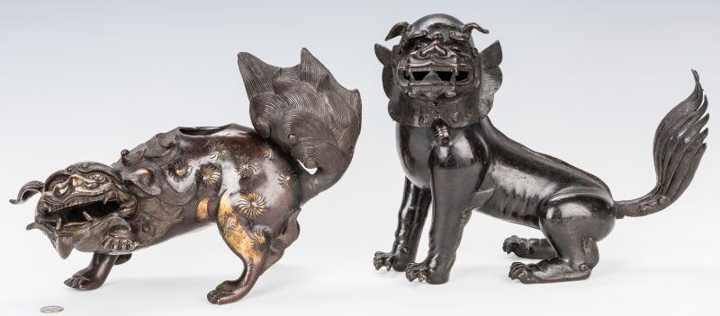 Lot 20: 2 Asian Bronze Foo Dogs