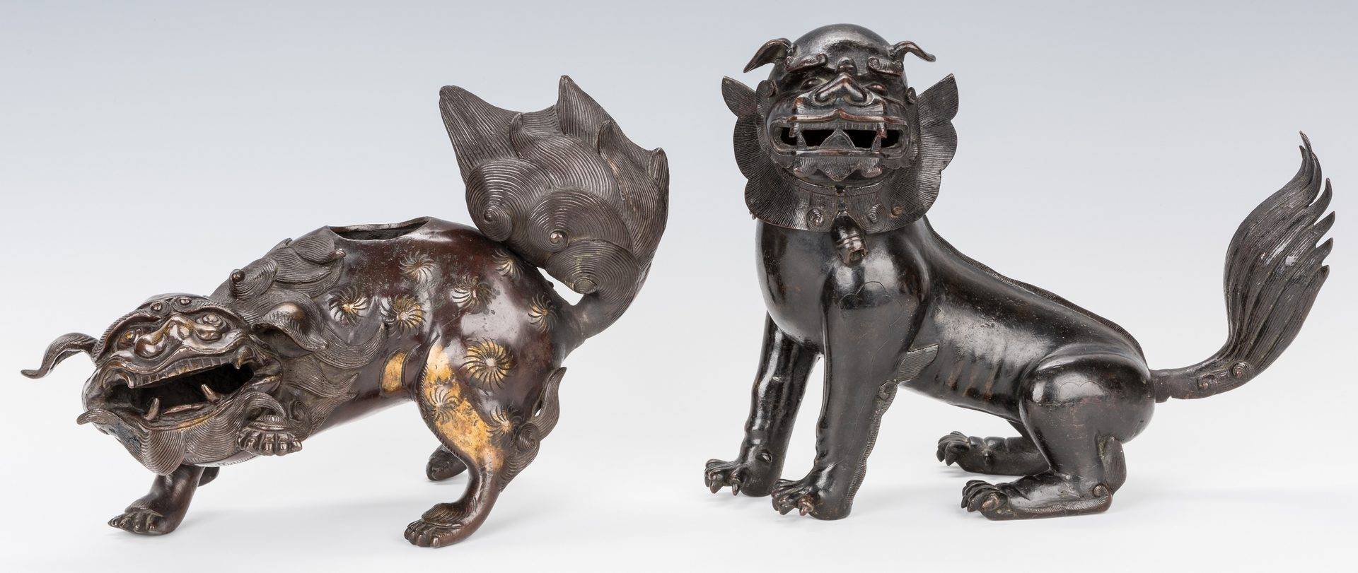 Lot 20: 2 Asian Bronze Foo Dogs