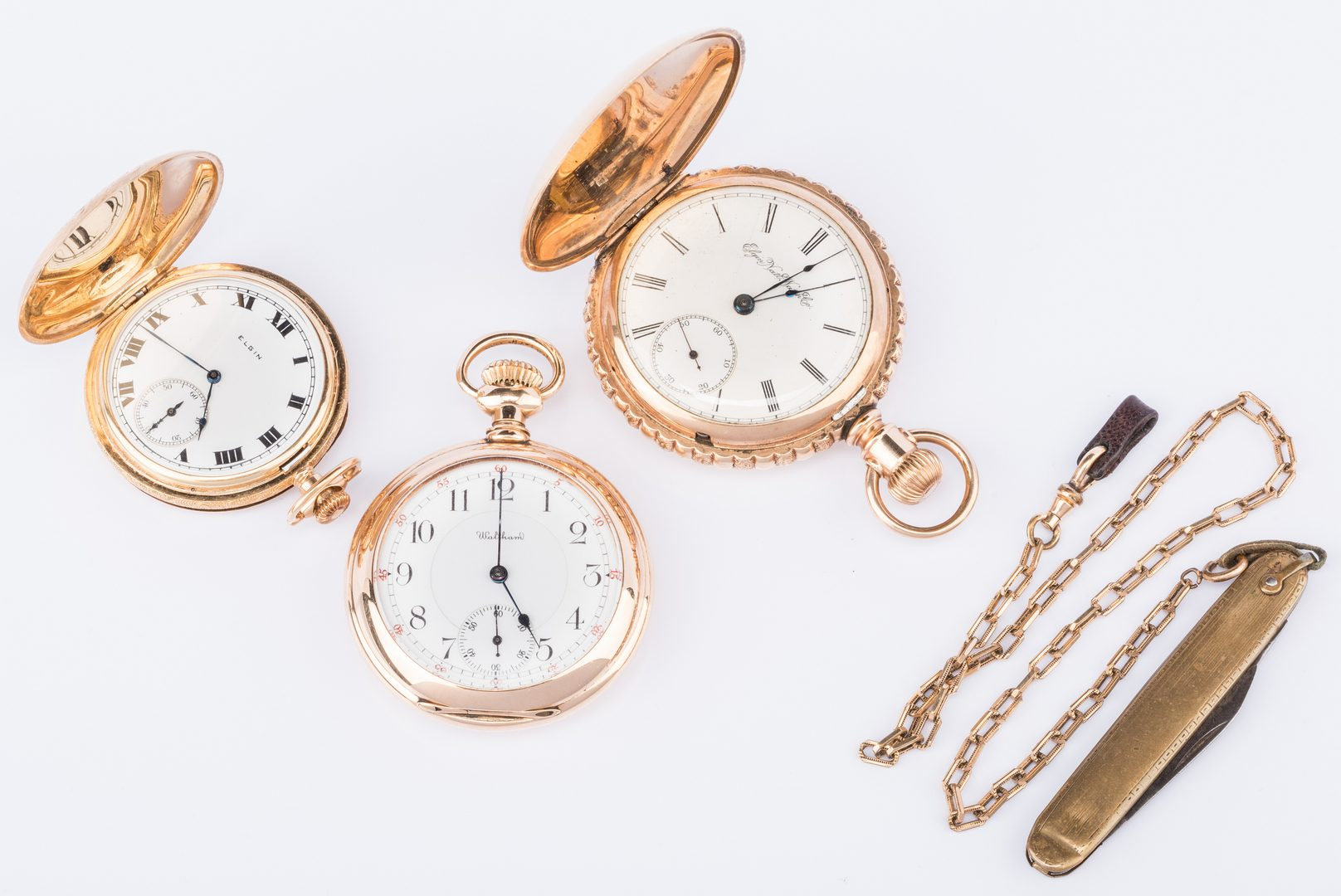 Lot 210: 2 14K Pocketwatches incl Railroad watch plus 1 other
