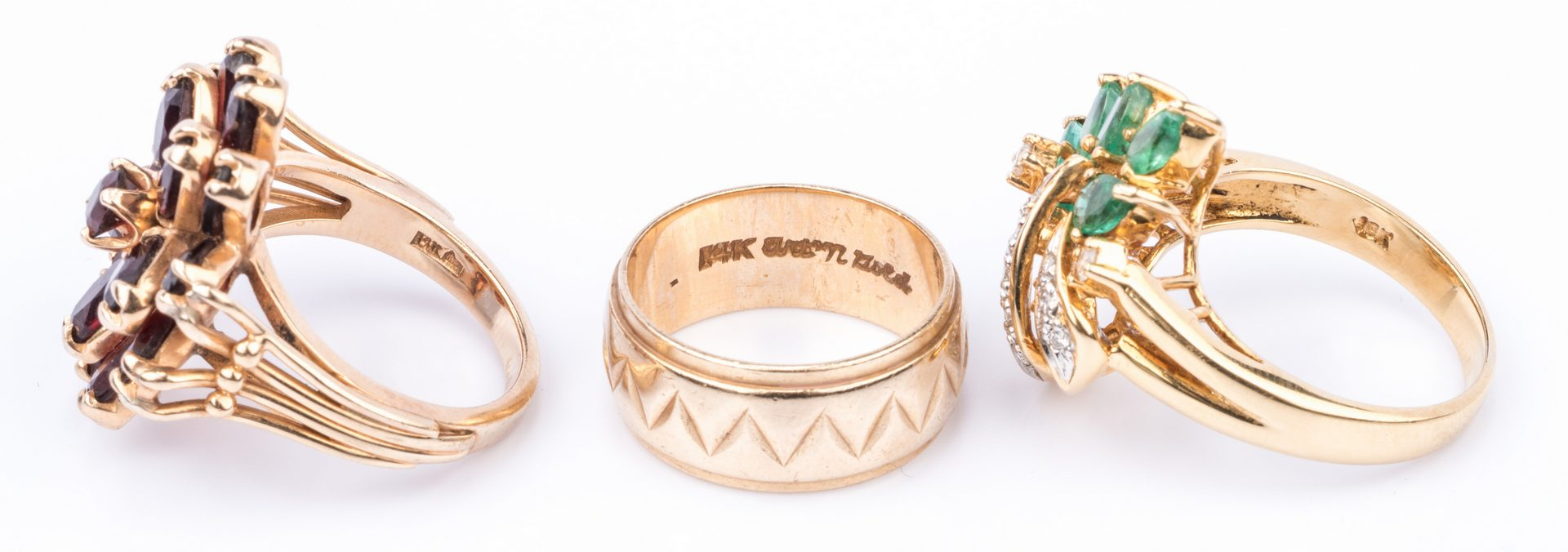 Lot 216: 7 14K Cocktail Rings; 1 14K Band