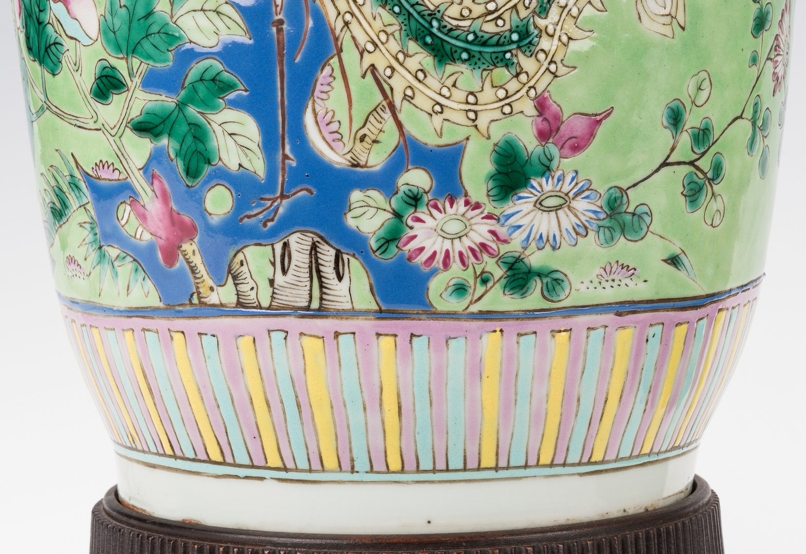 Lot 22: Pr. Chinese Porcelain Famille Verte Vases Mounted as Lamps