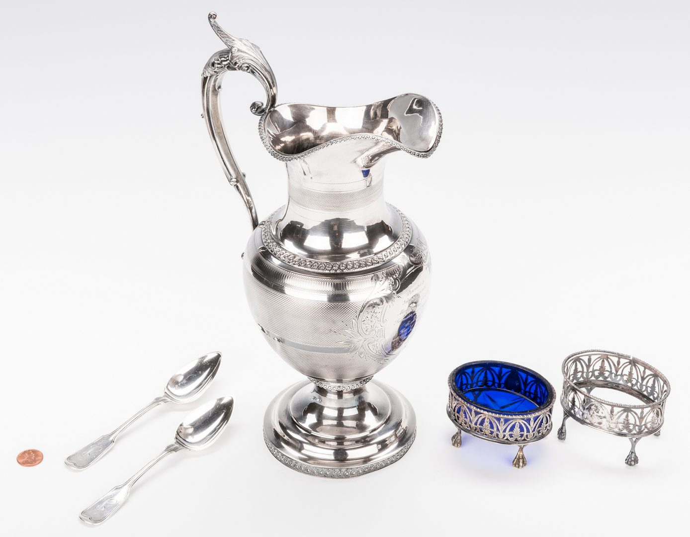 Lot 231: 5 Sterling and Coin Items, inc. Wood & Hughes Presentation Ewer
