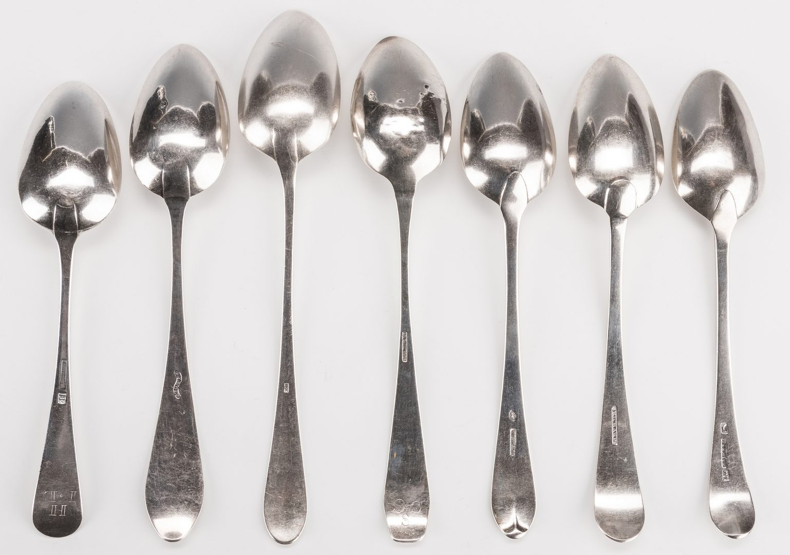 Lot 235: 17 American Tablespoons, most 18th C.