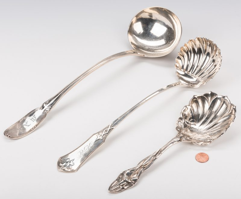 Lot 236: 3 Coin and Sterling Silver Ladles, inc. NY and Boston
