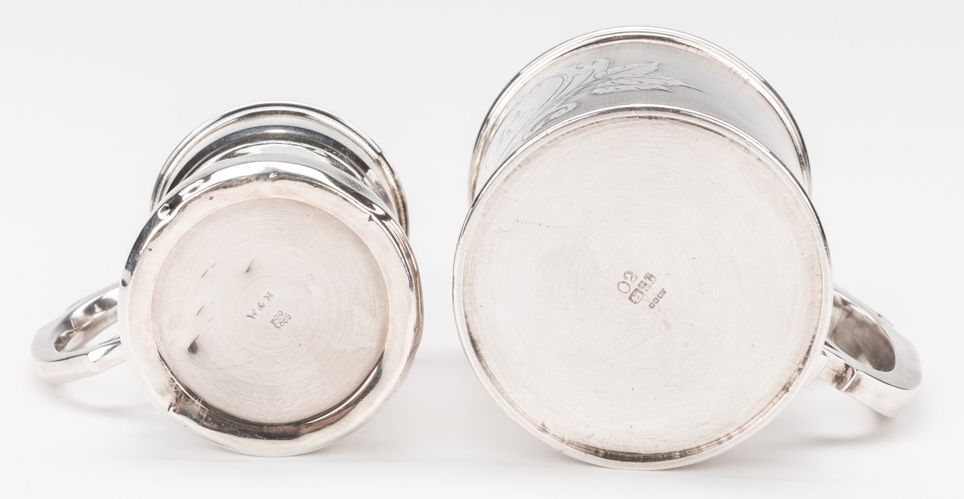 Lot 237: 2 Coin Silver Mugs: Gorham, Wood & Hughes