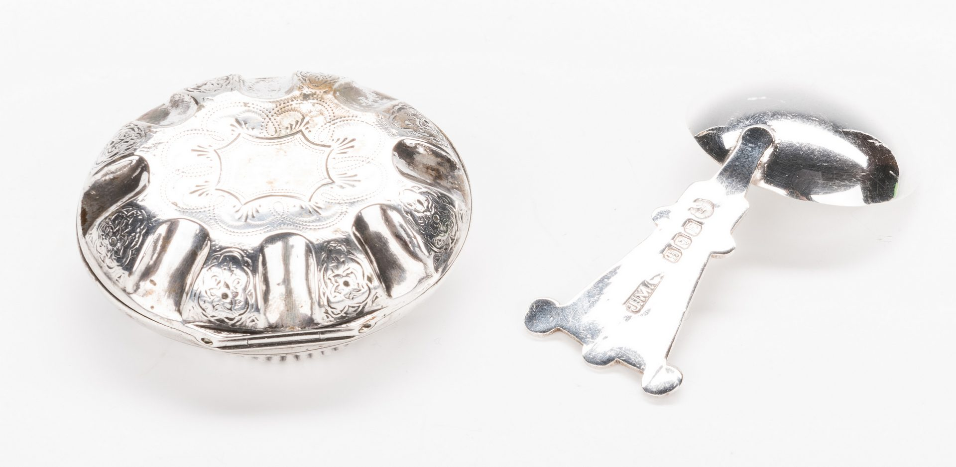 Lot 240: 4 silver novelties inc. Geo III patch box