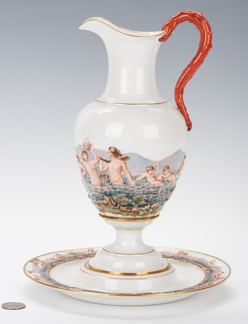 Lot 242: Meissen Porcelain Ewer & Basin