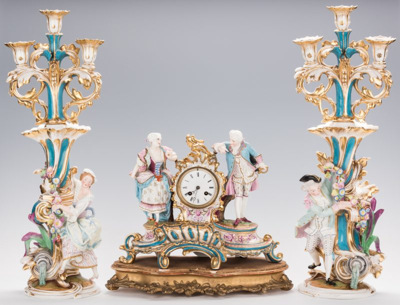 Lot 244: 3 Pc. Old Paris Garniture Set, Clock & Candelabra