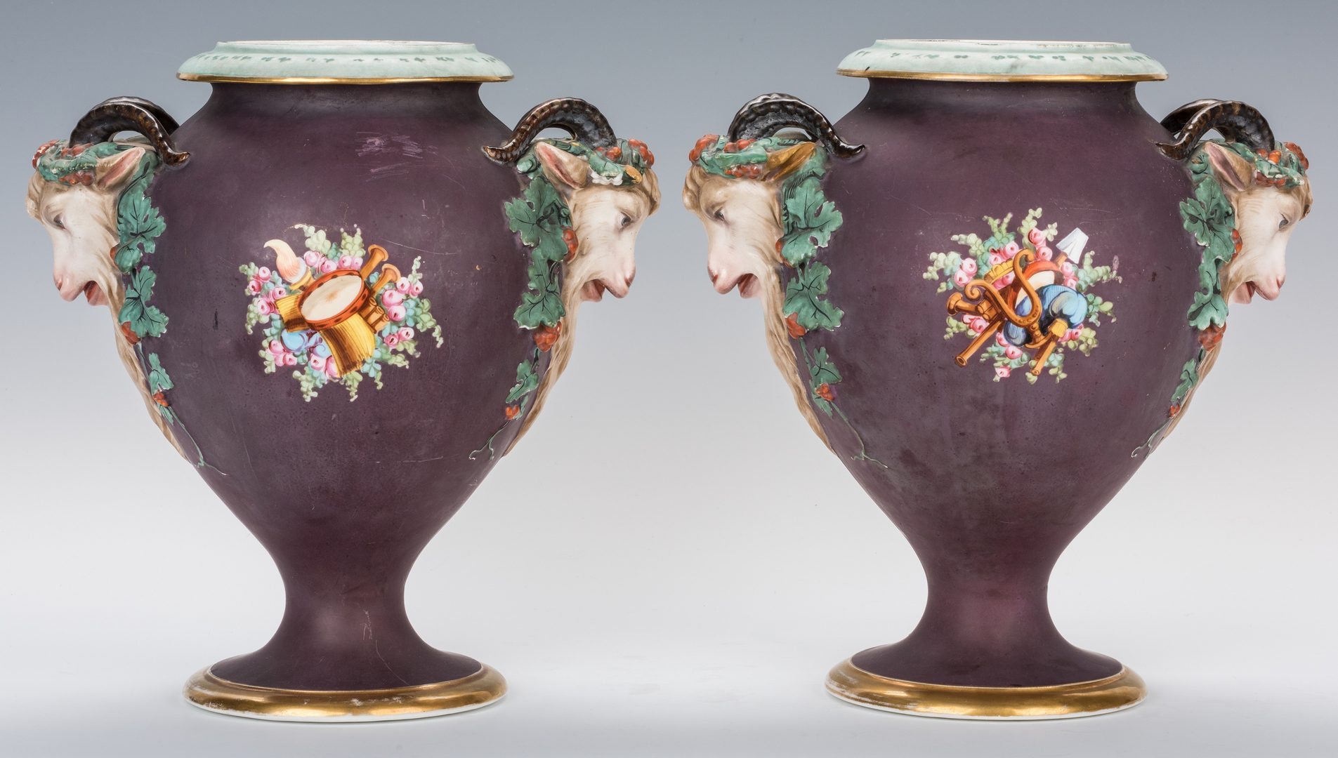 Lot 245: Pair Continental Classical Porcelain Urns