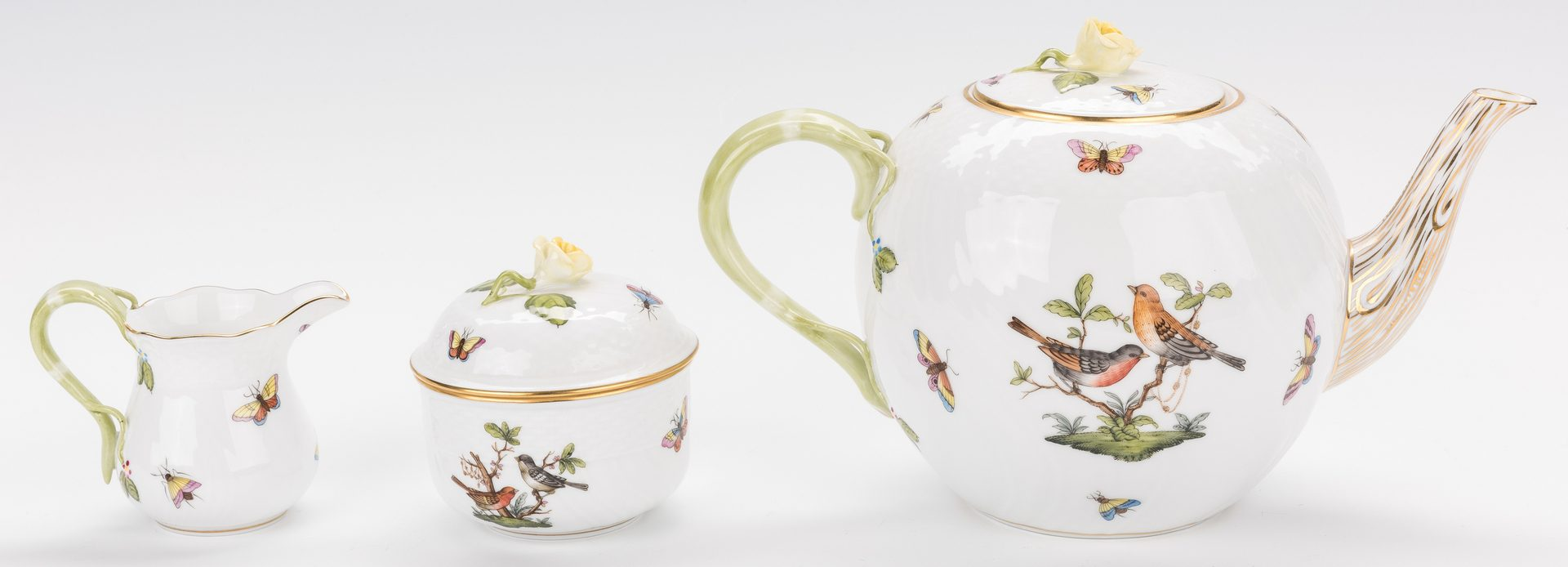 Lot 247: Herend Rothschild Bird Porcelain Tea Set, 27 pcs
