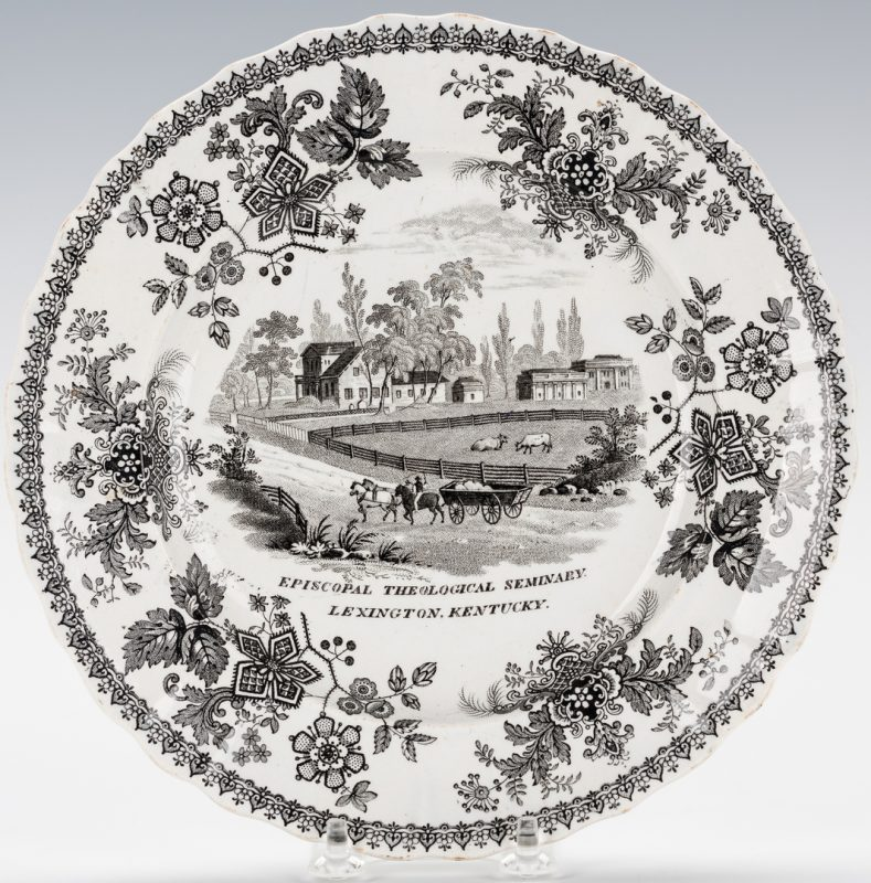 Lot 250: Historical Staffordshire Glazed Earthenware Plate, Lexington, KY